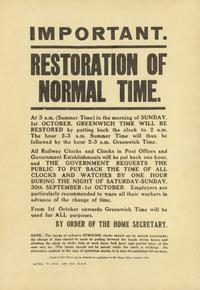 Home Office poster announcing restoration of Greenwich Time